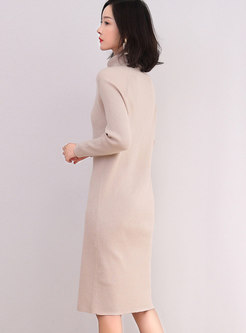 Turtleneck Solid Knitted Bodycon Dress