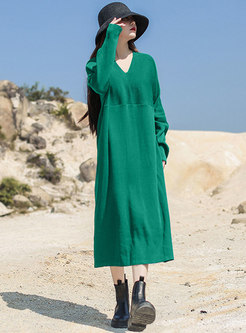 V-neck Solid Plus Size Knitted Shift Dress