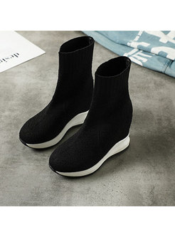 Rounded Toe Increased Internal Wedge Boots