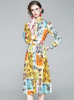 Color-blocked Floral Midi A Line Belted Dress