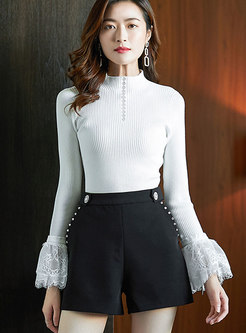 Lace Patchwork Flare Sleeve Pullover Sweater