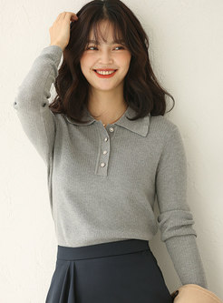 Turn Down Collar Pullover Slim Sweater