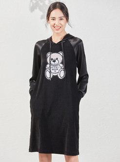 Hooded Animal Print Knee-length Shift Dress