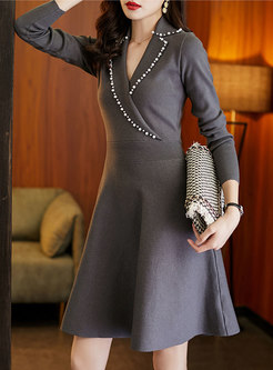 Notched Beaded A Line Knitted Dress