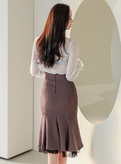 Sheer Chiffon Blouse & Split Midi Mermaid Skirt