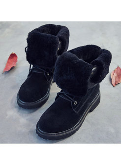 Rounded Toe Short Plush Snow Boots