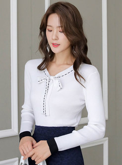 Color-blocked Bowknot Pullover Slim Sweater