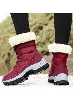 Plus Patchwork Short Outdoor Snow Boots