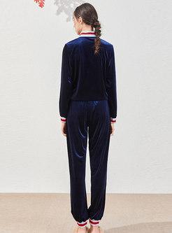 Mock Neck Striped Patchwork Velvet Pant Suits