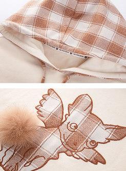 Plaid Animal Print Pullover Hoodie
