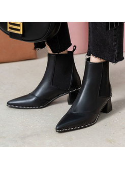 Solid Pointed Toe Block Heel Winter Boots