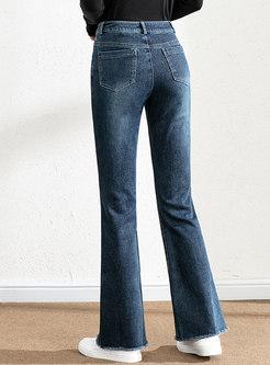 High Waisted Fringed Denim Flare Pants