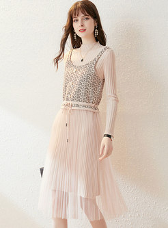 Solid Knitted Mesh Patchwork Two Piece Dress