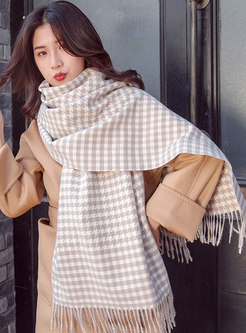 Houndstooth Fringed Faux Cashmere Scarf