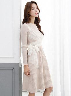 Long Sleeve Mesh Patchwork Sweater Dress