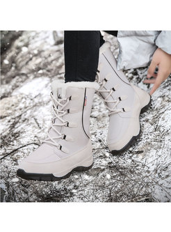 Waterproof Plush Lace-up Snow Boots
