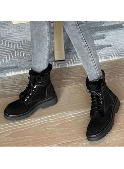 Lace-up Plush Rounded Toe Platform Ankle Boots