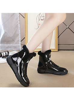 Patent Leather Rounded Toe Flat Ankle Boots