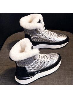 Color-blocked Waterproof Platform Snow Boots