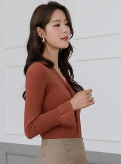 V-neck Flare Sleeve Lettuce Slim Sweater