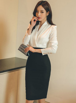 Long Sleeve Patchwork Bodycon Office Dress