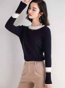 Crew Neck Pullover Slim Ribbed Sweater