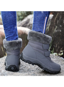 Rounded Toe Plush Waterproof Snow Boots