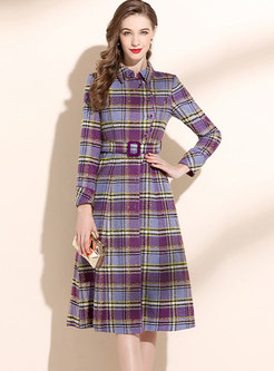 Retro Plaid Belted Knee-length Skater Dress