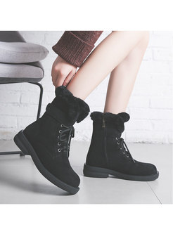 Low Block Heel Lace-up Short Snow Boots