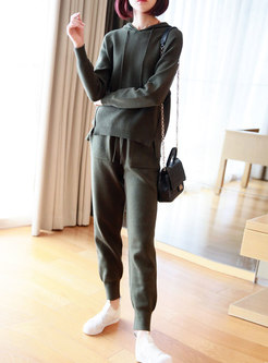 Casual Hooded Loose Sweater Pant Suits