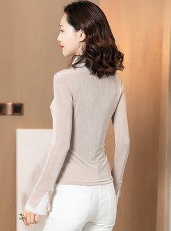 Mock Neck Mesh Patchwork Slim Sweater