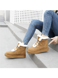 Rounded Toe Platform Non-slip Ankle Boots