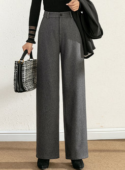 Casual Solid High Waisted Wide Leg Pants