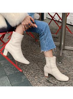 Square Toe Chunky Heel Short Plush Boots