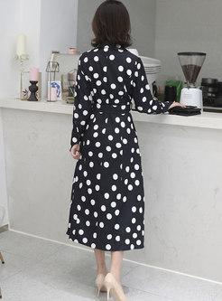 Plus Size Lapel Polka Dot A Line Maxi Dress