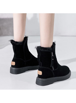Plush Rounded Toe Side Zipper Ankle Boots