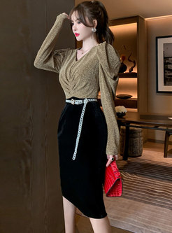 V-neck Puff Sleeve Ruched Bodycon Dress