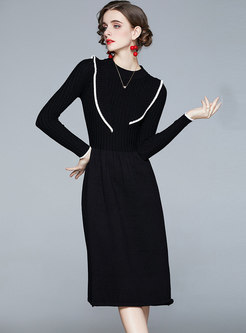 Crew Neck Ruffle Patchwork Knitted Dress