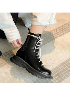 Patent Leather Non-slip Wool Ankle Boots