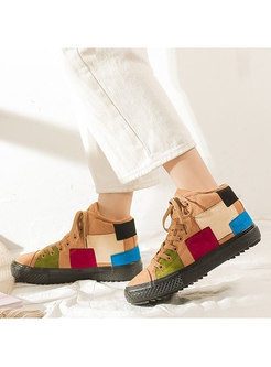 Color-blocked Plush Patchwork Flat Winter Shoes
