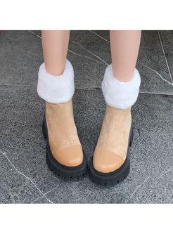 Short Plush Patchwork Low Block Heel Boots