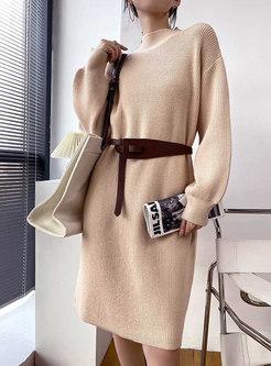 Mock Neck Solid Knee-length Knitted Dress