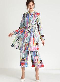Plus Size Print Satin Cropped Pant Suits