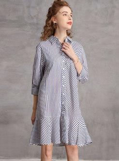 3/4 Sleeve Single-breasted Shift Shirt Dress