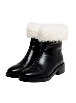 Rounded Toe Lambswool Patchwork Snow Boots