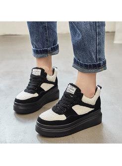 Color-blocked Short Plush Platform Shoes