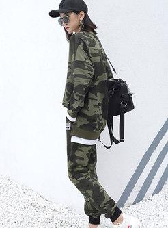 Crew Neck Camouflage Plus Size Pants Suits