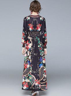 Lantern Sleeve Print Empire Waist Maxi Dress