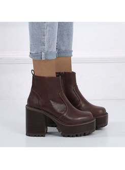 Rounded Toe Platform Block Heel Ankle Boots