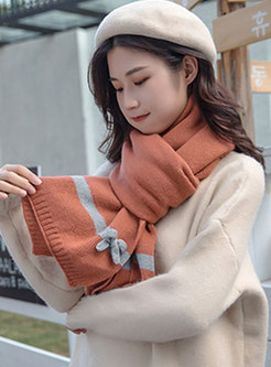 Color-blocked Bowknot Thicken Winter Scarf